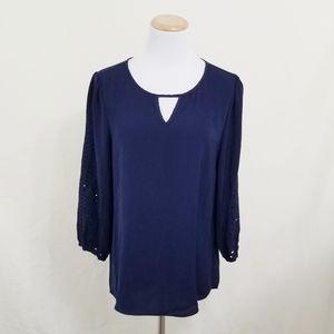 Market & Spruce Hersten navy embroidered blouse M